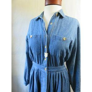 Vintage Chambray Denim Fall Pocket Jean Dress